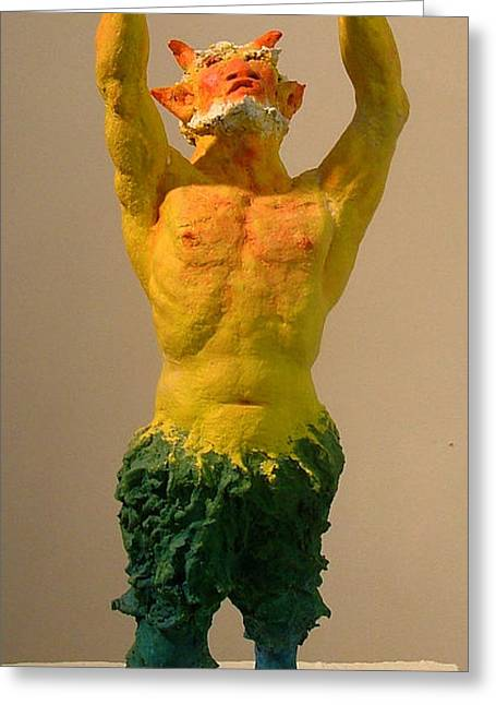 Praying Sculptures Greeting Cards - Satyr Prayer Greeting Card by Gary Kaemmer