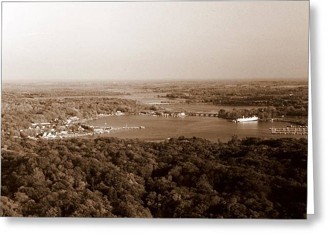Saugatuck Michigan Harbor Aerial Photograph Greeting Card by Michelle Calkins