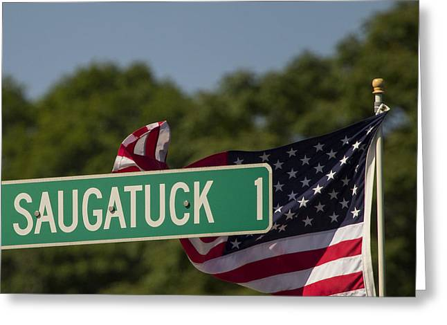 Westport Ct Greeting Cards - Saugatuck Street Sign Greeting Card by Stephanie McDowell