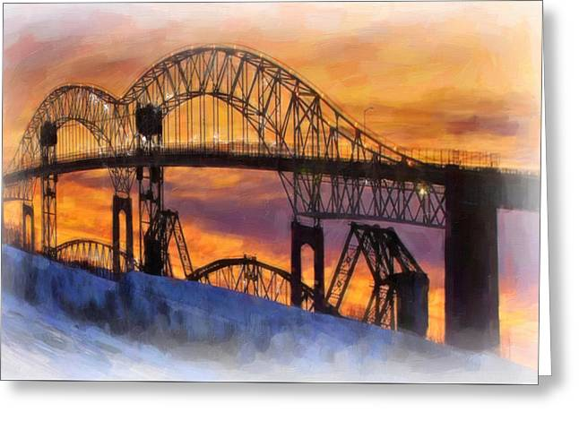 Exposure Paintings Greeting Cards - Sault Ste. Marie International Bridge Greeting Card by Lanjee Chee