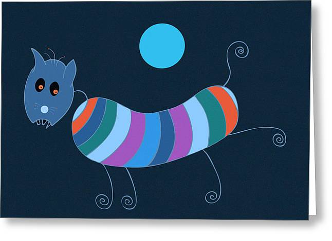 Sausage Dog In Blue Moon Greeting Card by Frank Tschakert