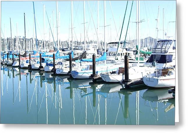 Sausalito Digital Art Greeting Cards - Sausalito Harbor Greeting Card by Rich Bertolina