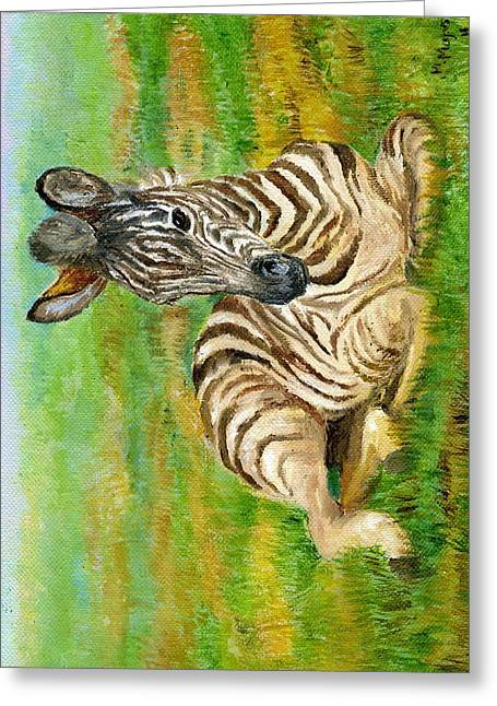 Zebra Colt Greeting Cards - Savanna Stripes- Zebra Greeting Card by Mary Mapes