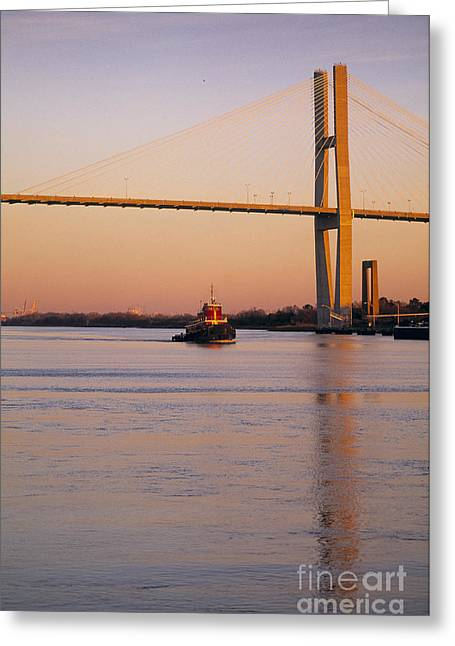 Famous Bridge Greeting Cards - Savannah - Georgia Greeting Card by Juan  Silva