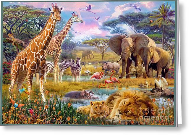 Cecil Greeting Cards - Savannah Animals Greeting Card by Jan Patrik Krasny