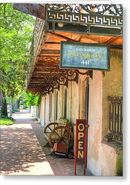 Entrance Door Greeting Cards - Savannah antique shop Greeting Card by Linda Covino