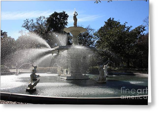 Savannah Fountain Greeting Card by Carol Groenen