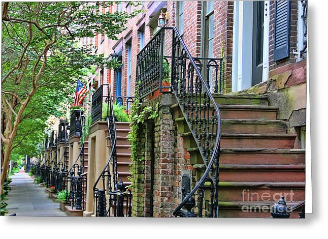 Front Steps Greeting Cards - Savannah Front Steps  3194 Greeting Card by Jack Schultz