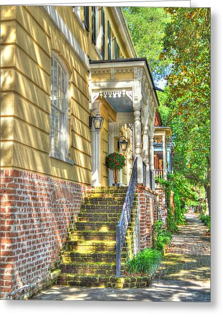 City Lights Greeting Cards - Savannah Gas Light Porches Greeting Card by Linda Covino