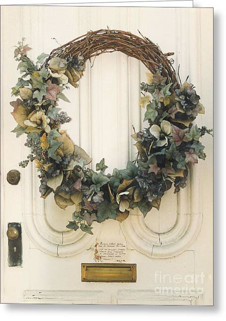 Dreamy Digital Art Greeting Cards - Savannah Georgia Vintage Door With Wreath Greeting Card by Kathy Fornal