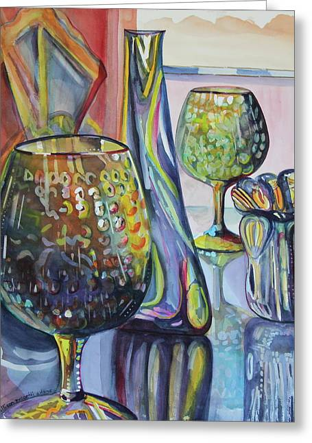 Glass Reflecting Paintings Greeting Cards - SAVANNAH Glass Shop Window Greeting Card by Allison  Adams