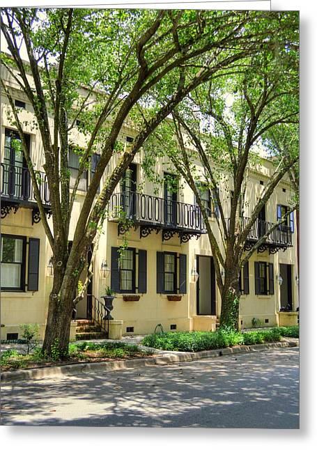 Historic Home Greeting Cards - Savannah Row houses Greeting Card by Linda Covino
