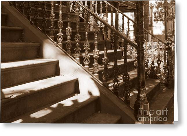 Tone On Tone Greeting Cards - Savannah Sepia - Stairs Greeting Card by Carol Groenen