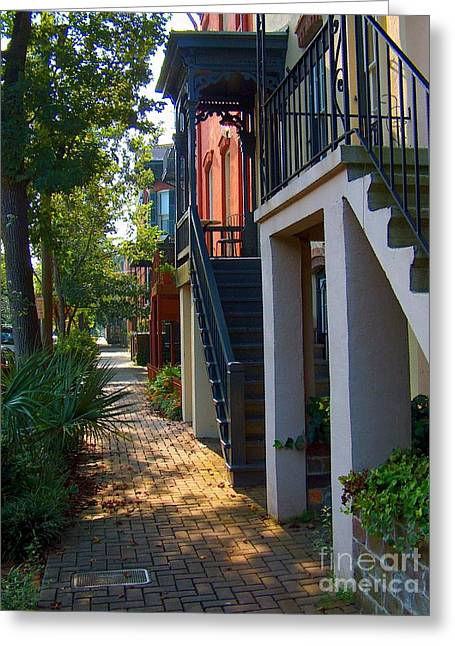 Brick Streets Greeting Cards - Savannah Streets Greeting Card by M J Glisson