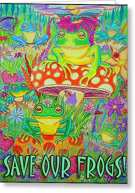 Dragon Flies Greeting Cards - Save Our Frogs Greeting Card by Nick Gustafson