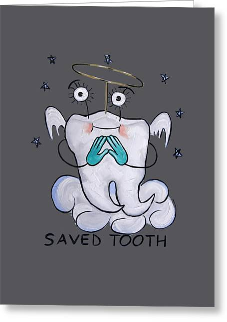 Save Greeting Cards - Saved Tooth T-Shirt Greeting Card by Anthony Falbo