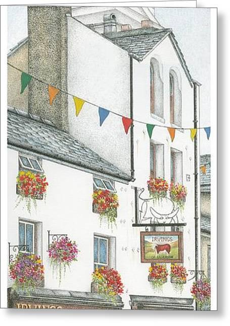 Savings Bank Clock Ulverston Cumbria Greeting Card by Sandra Moore