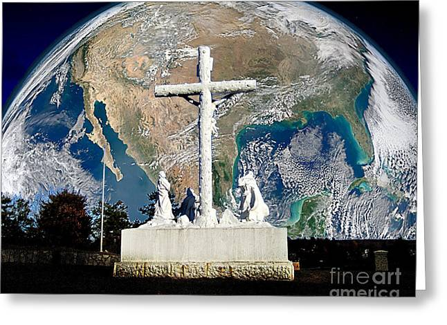 Calvary Greeting Cards - Savior of the World Greeting Card by John Swencki