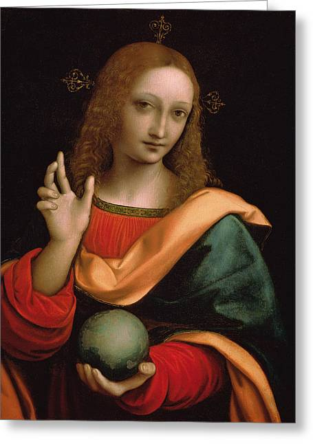 Religious Paintings Greeting Cards - Saviour of the World Greeting Card by Giovanni Pedrini Giampietrino