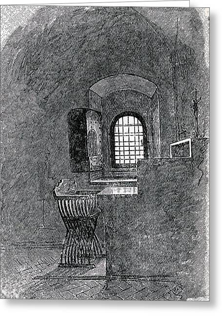 Mark Drawings Greeting Cards - Savonarola S Empty Cell At St. Mark S Greeting Card by Ken Welsh