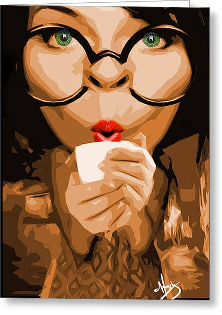Savvy Sipper Greeting Card by Moxxy Simmons
