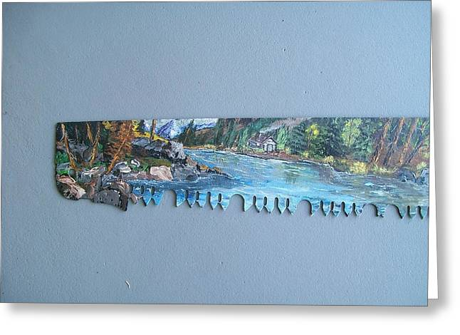 Shack Greeting Cards - Saw Blade 1..Tetraptych Greeting Card by Sharon Duguay