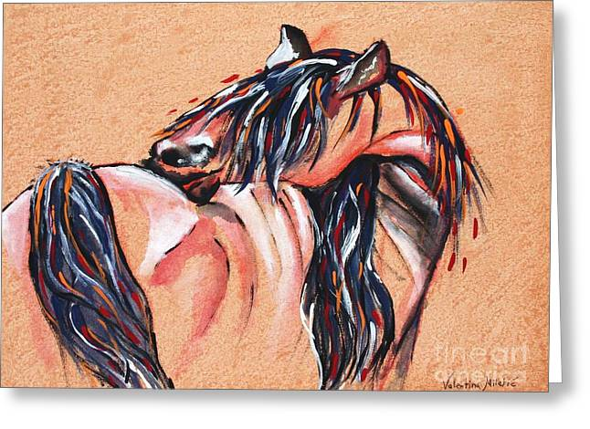 Courage Paintings Greeting Cards - Sawbuck - Horse Art by Valentina Miletic Greeting Card by Valentina Miletic