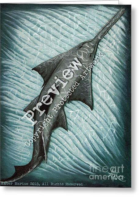 Saw Greeting Cards - Sawfish Greeting Card by Amber Marine