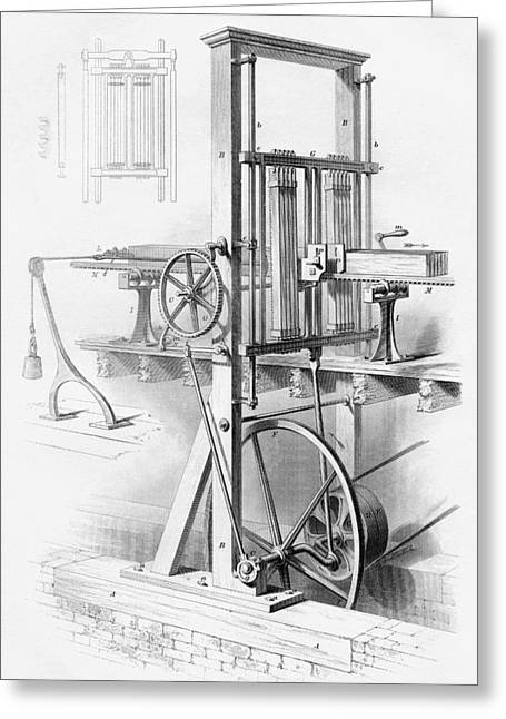 Mechanism Drawings Greeting Cards - Sawmill. From Cyclopaedia Of Useful Greeting Card by Vintage Design Pics
