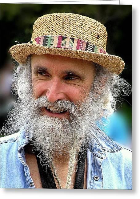 White Beard Greeting Cards - Sax Man Greeting Card by Jen White