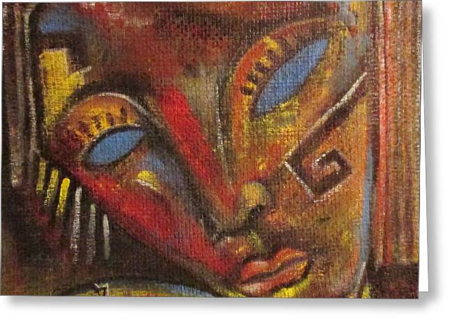 Face Tapestries - Textiles Greeting Cards - Face Greeting Card by Nugzar Aroshidze