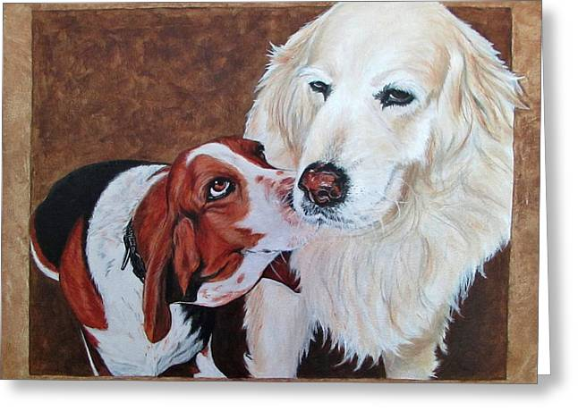 Companion Animal Greeting Cards - Saxon and Pumpkin Greeting Card by Twyla Francois