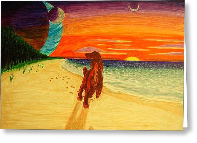 Best Sellers -  - Moon Beach Greeting Cards - Saxon Greeting Card by Matthew Fields