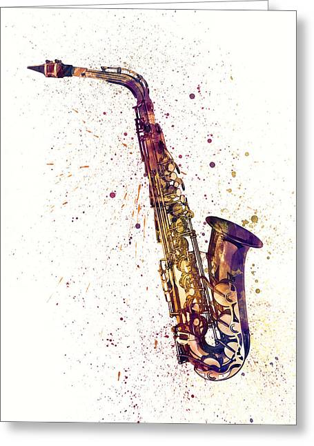 String Art Greeting Cards - Saxophone Abstract Watercolor Greeting Card by Michael Tompsett