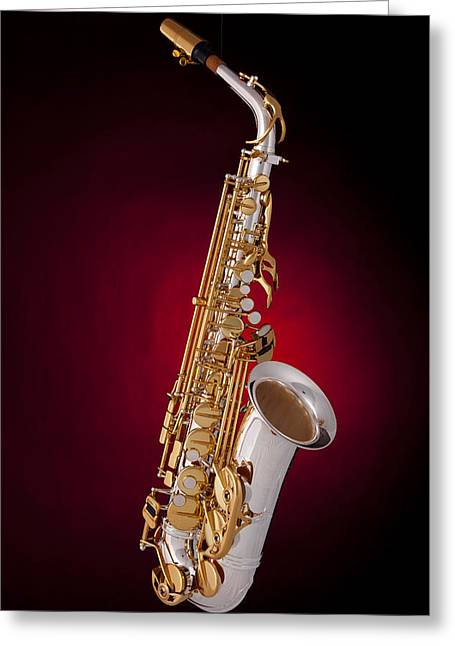 Mac K Miller Greeting Cards - Saxophone on Red Spotlight Greeting Card by M K  Miller