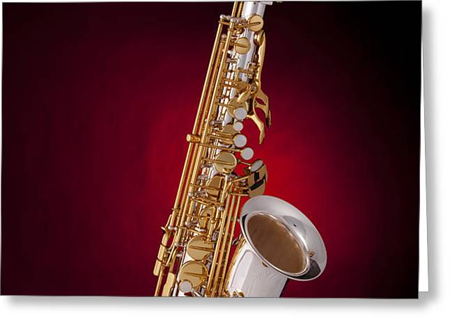 Saxophone on Red Spotlight Greeting Card by M K  Miller