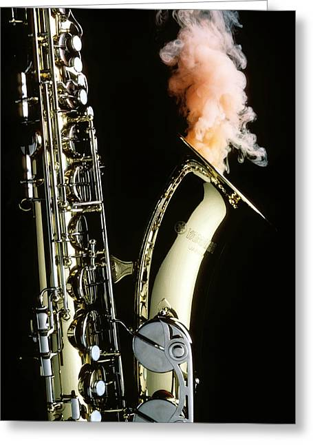 Sax Greeting Cards - Saxophone with smoke Greeting Card by Garry Gay