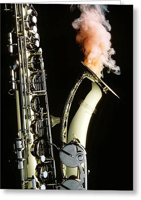 Smokey Greeting Cards - Saxophone with smoke Greeting Card by Garry Gay