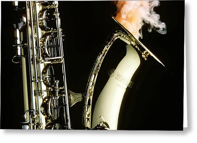 Saxophone with smoke Greeting Card by Garry Gay