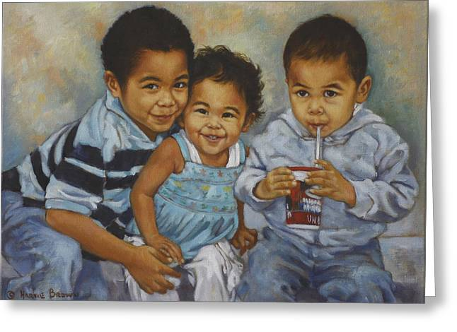 Three Children Paintings Greeting Cards - Say Cheese Greeting Card by Harvie Brown