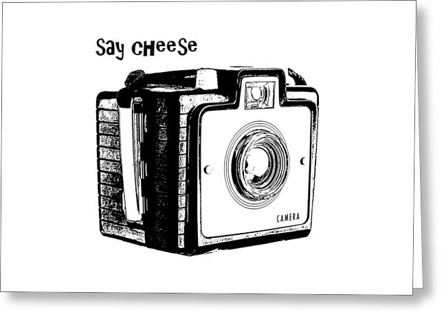 Say Cheese Old Camera T-shirt Greeting Card by Edward Fielding