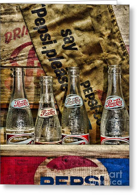 Soda Bottles Greeting Cards - Say Pepsi Please Greeting Card by Paul Ward