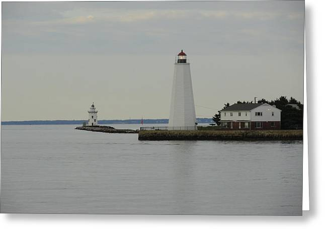 Saybrook Greeting Cards - Saybrook Lighthouses Greeting Card by Meandering Photography