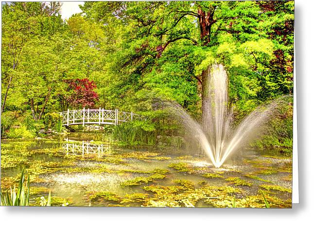 Moss Greeting Cards - Sayen Gardens Hamilton New Jersey Greeting Card by Geraldine Scull