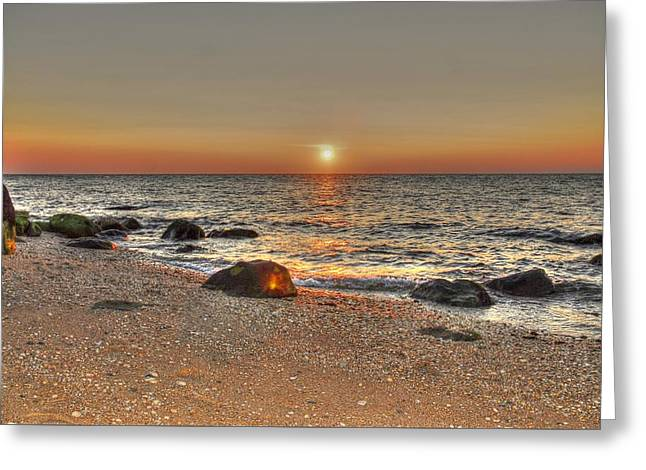 Beach Photography Greeting Cards - Saying goodnight on Long Island Greeting Card by Linda Covino