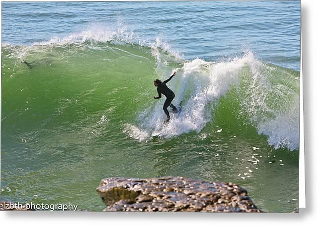 Santa Cruz Surfing Greeting Cards - SC surfing 2 Greeting Card by Liz Santie