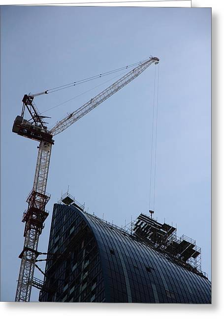 Tower Crane Greeting Cards - scaffolding II... yeah... WAY the hell up there... Greeting Card by Kreddible Trout