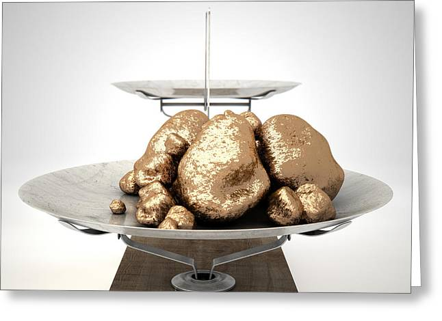 White Background Digital Greeting Cards - Scale And Gold Nuggets Greeting Card by Allan Swart