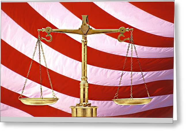 Equality Greeting Cards - Scales Of Justice American Flag Greeting Card by Panoramic Images