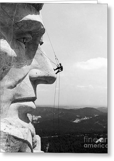 Ambition Photographs Greeting Cards - Scaling Mount Rushmore Greeting Card by Granger